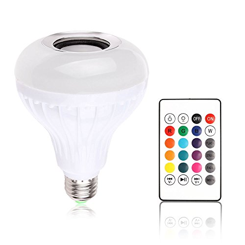 Winbang Bombilla de Altavoz Bluetooth, E27 7W Bombilla LED Bluetooth 4.0 Música Audio RGBW Luz de Altavoz Lámpara RGB con Mando a Distancia para iOS Android (1pc)