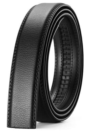 Correa de cinturón de trinquete de Chaorn, solo 1 1/8 pulgadas, cinturón de cuero de repuesto de 1.25 pulgadas sin hebilla, Cinturón para hombre, color negro, 50' to 60' Waist...