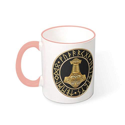Taza de café con diseño de martillo vikingo dorado de primera clase de cerámica retro divertida – taza de cerámica para salón de regalo de cumpleaños vcbe 330 ml