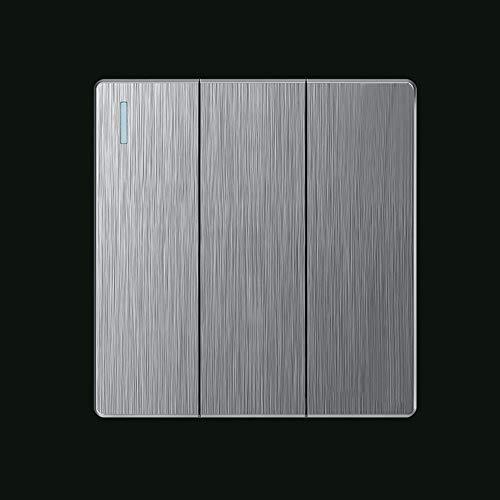Ploutne Hogar interior cepillado gris Interruptor oscilante sin marco grande de teclas del panel del interruptor 10A 60mm Agujero de montaje Distancia de interruptor incorporado Interruptor de pared c