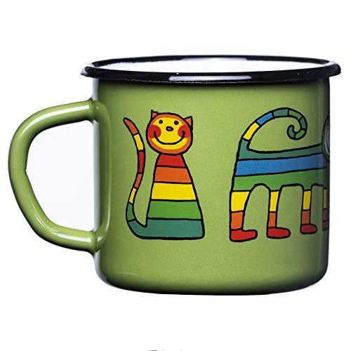 Smaltum Hochwertige grüne Emaille-Tasse mit Katze, leicht und unzerbrechlich, Kinder und Camping (250ml)