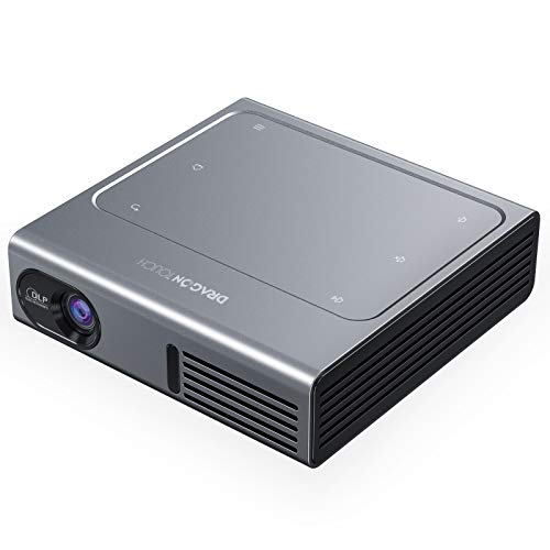 """Dragon Touch Z1 Mini Projector, 150 ANSI Lumen 1080P Supported DLP Portable Projector with Android 7.1 OS, 150"""" Display Trackpad Design, Wireless and Wired Screen Sharing Home Theater Movie Projector"""