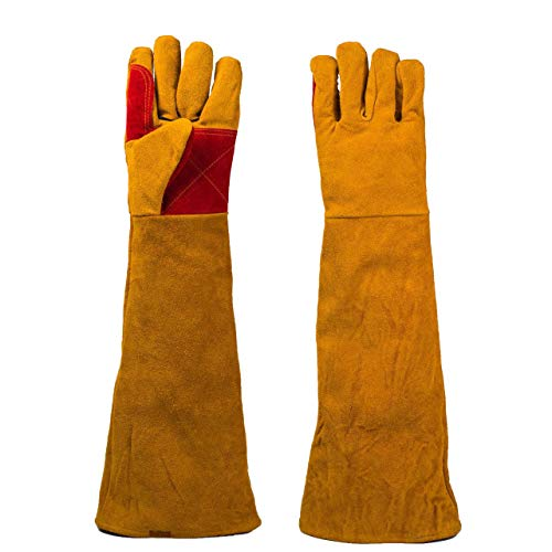 """Eyourlife 1 Pair Leather Welding Gloves 23.62"""" Extra Long Sleeves, Cut-Proof Labor Gloves, Thicken Extreme Heat Resistant Working Protect Gloves, Fireplace/Gardening Gloves"""