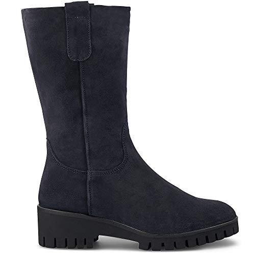 Belmondo Damen Winter-Stiefelette aus Leder, Boots in Blau mit innenliegendem Reißverschluss, Kurzschaft-Stiefel mit Rutschfester Laufsohle Blau Rauleder 40