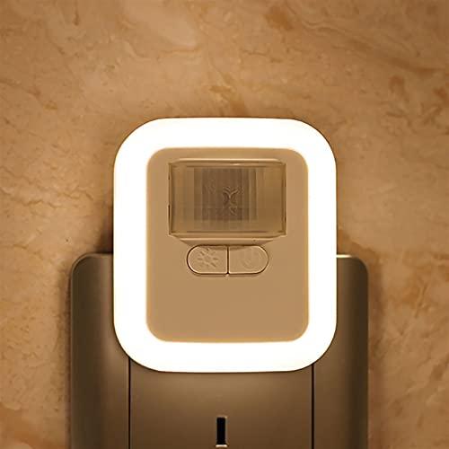 Iluminación nocturna Luz del sensor de movimiento del enchufe LED Luz de la lámpara de la noche de la pared con brillo 30s / 60s / 90s / 120s Tiempo de iluminación Ajustable para sala de estar