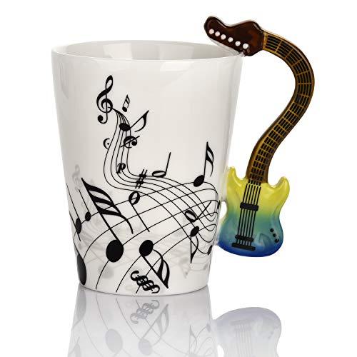 Keramiktasse mit Gitarren-Motiv, 365 ml, Musiknoten-Motiv, für Gitarre, Musiker, farbige Gitarre