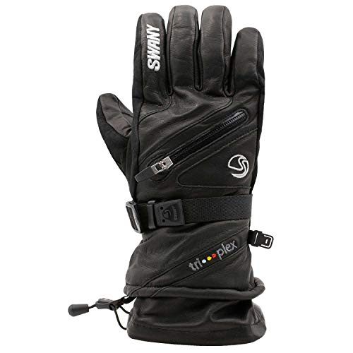 Swany Men's X-Cell Insulated Warm Leather Ski Gloves, Black, X-Large (SX-1M)