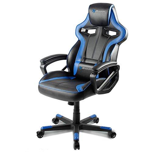 Arozzi - Milano sedia da Gaming, Nero Blu, 50 x 55 x 130