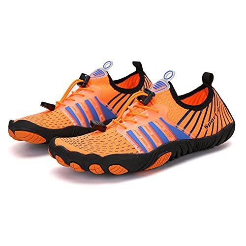 ZHJIUXING ST Zapatos de Agua Hombre Mujer Zapatillas de Deportes Acuaticos Calzado de Natación para Buceo Snorkel Surf Piscina Playa Vela Mar Secado Rápido, Orange, 41 EU