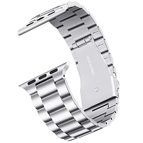 Straper Cinturino Compatibile con Apple Watch 38mm 40mm 42mm 44mm, Braccialetto di Acciaio Inossidabile con Chiusura Pieghevole per Apple Watch Serie 4 3 2 1