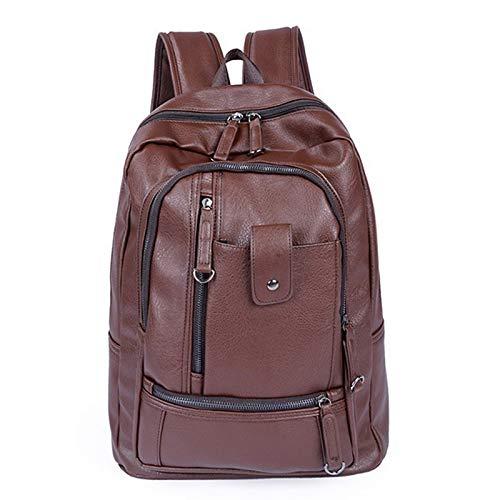 Yaceeng Rugzak voor heren, van PU-leer, voor tieners, heren, casual, laptoptas, grote capaciteit, luxe reistas