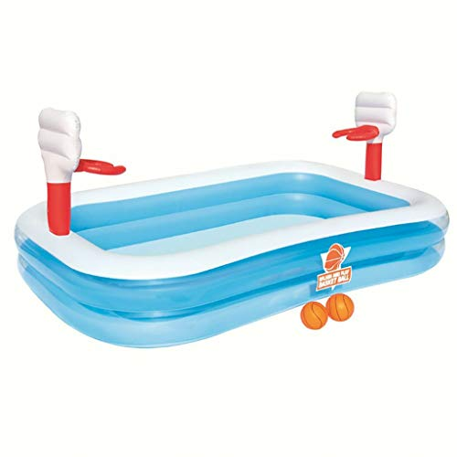 Familie Zwembad, Opblaasbare zwembaden met basketbal For Kids, rechthoekige Water Ball Pool for buiten, Swim Center Water Party vanaf 3 jaar, Basketballring Waden Waterpret