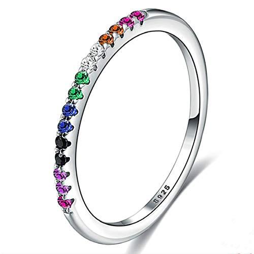 DOOLY Anillos de Plata esterlina del Color del Arco Iris para Las Mujeres Apilable Circón Redondo Completo Regalo de Boda Caliente 925 Joyería
