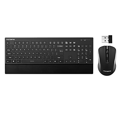 VicTsing Ultra-Thin Wireless Keyboard and Mouse Combo with Palm Rest, 2.4GHz Connectivity, Long Battery Life - Black