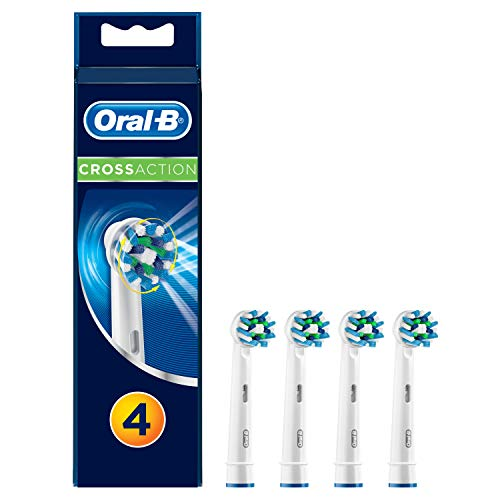 Oral-B Genuine CrossAction Replacement White Toothbrush Heads, Refills for Electric Toothbrush, Angled Bristles for up to 100 Percent More Plaque Removal, Pack of 4