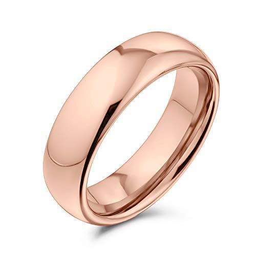 Bling Jewelry Semplice Cupola Semplice Coppie Titanio Fede Nuziale Rosa Oro Anello Placcato per Uomo per Le Donne Comfort Fit 6MM