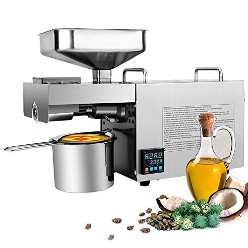 RBAYSALE Oil Press Machine 0-300℃ Temp Control Automatic Oil Extractor for Home Avocado Coconut Olive Flax Peanut Castor Canola Sesame Sunflower Seed