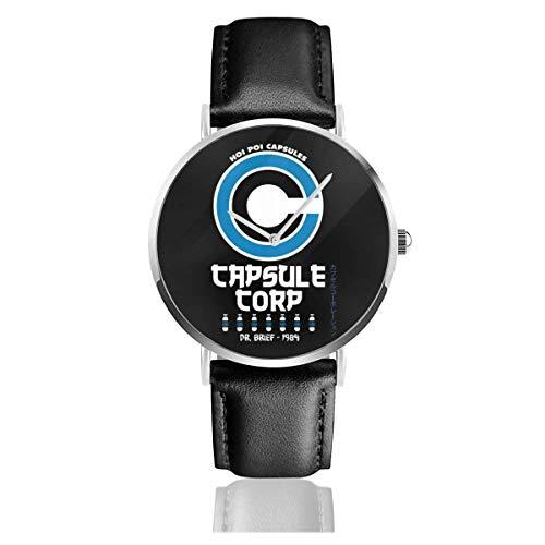 Capsule Corp Hoi POI Retro Dragon Ball Z Relojes Reloj de Cuero de Cuarzo con Correa de Cuero Negro para Regalo de colección