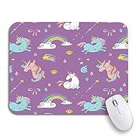 ROSECNY 可愛いマウスパッド 信じて魔法パターンユニコーン虹と妖精の翼本滑り止めゴムバッキングコンピューターマウスパッドノートブックマウスマット