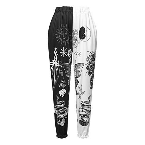 Eghunooye Damen Jogginghose Sporthose Lang Yoga Hose Freizeithose mit Schmetterling Aufdruck Kordelzug Laufhosen Baumwolle High Waist Trainingshose Sweathose für Frauen (Schwarz Weiß, L)