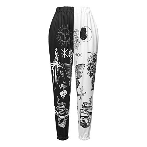 Women High Elastic Waist Sweatpants Workout Joggers Plus Baggy Skull Rainbow Color Block Lounge Bottoms with Pockets