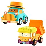 INSOON Toddler Toys Car and Truck Toys for 1 2 3 Year Old Boys Girls Baby Toys Musical Car with Universal Wheels 2 Pack Cartoon Car Toys for Boys Grils