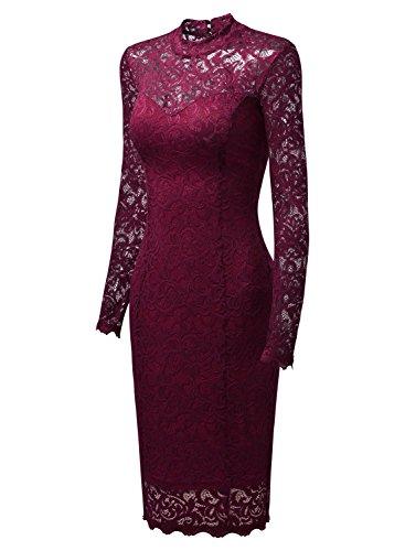 Miusol Damen Elegant Kleider Rundhals Knilanges Spitzenkleid Stretch Ballkleid Abendkleid - 7