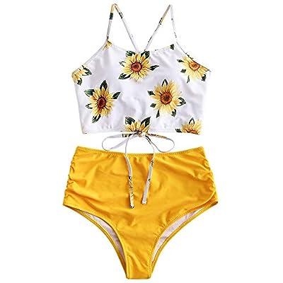 ZAFUL Sunflower Bikini Set Padded Lace Up Ruched Tankini High Waisted Bathing Suit Yellow S