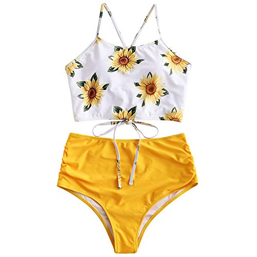 ZAFUL Sunflower Bikini Set Padded Lace Up Ruched Tankini High Waisted Bathing Suit Yellow M