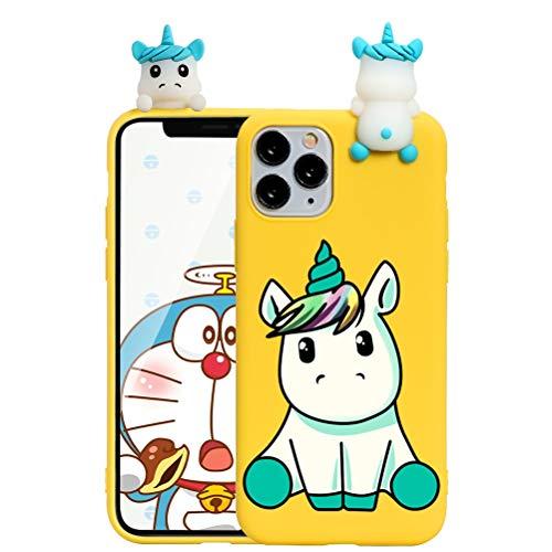 ZhuoFan Custodia Apple iPhone 7 Plus con 3D Cartoon Doll, Sottile Giallo Back Bumper Cover Silicone con Unicorno Pattern Shockproof Protettiva Phone Cases per Apple iPhone 7Plus / 8Plus, Unicorno 01
