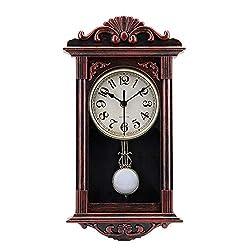 jomparis Pendulum Wall Clock Retro Quartz Decorative Battery Operated Wall Clock for Home Kitchen Living Room-16 Inch-Red Bronze
