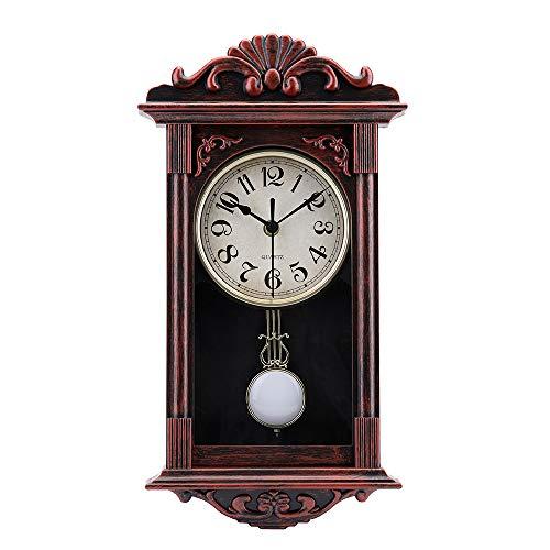 jomparis Reloj de pared de cuarzo retro con péndulo de 40cm