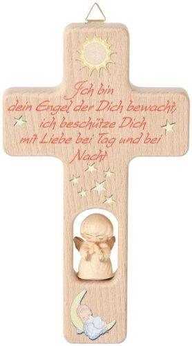 Kreuz mit Engel 'Ich Bin .' Kinderkreuz Holzkreuz Schutzengel 102862 mit Gravur (Rückseite)