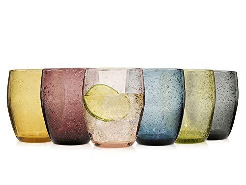 Sänger Gläser Set London 6 teilig - Füllmenge 400 ml – Mehrfarbig und transparent mit schöner Tropfen Textur – bauchige Form im Vintage Design, Pastellfarben