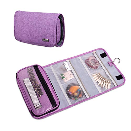 Teamoy Hanging Jewelry Organizer, Foldable Jewelry Travel Roll Case for Rings, Necklaces, Earrings, Bracelets and More, Purple(No Accessories Included)