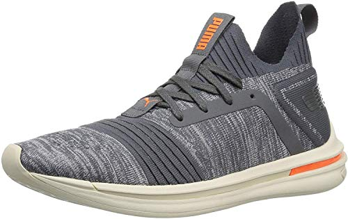 PUMA Men's Ignite Limitless SR Evoknit Sneaker, Iron gate-Shocking Orange, 11.5 M US