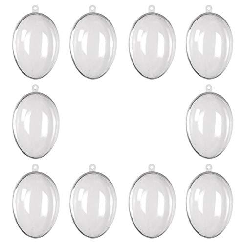 FAIRY TAIL & GLITZER FEE 10 Ostereier zum Befüllen Acrylglas Eier 6,5cm Ostern Deko Kunststoff Eier Ei Durchsichtig transparent