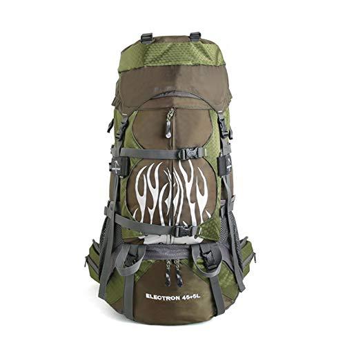 XUE-SHELF Mochila de 50 L/60 L para deportes al aire libre, mochila de senderismo impermeable marco interno con cubierta de lluvia, verde militar, 60 L