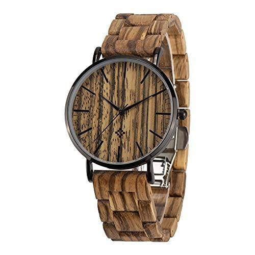 yuyan Reloj de Madera para Hombres, Movimiento de Cuarzo analógico japonés Minimalista, Correa Hecha a Mano de Madera Ajustable Natural Pura, Aniversario