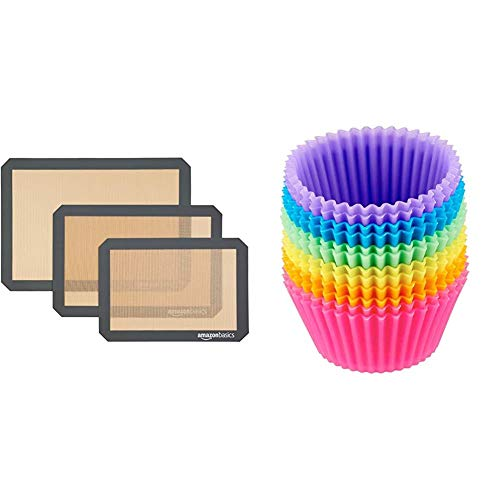 AmazonBasics Silicone, Non-Stick, Food Safe Baking Mat - Pack of 3 & Reusable, Silicone, Non-Stick Baking Cups Liners - Pack of 12