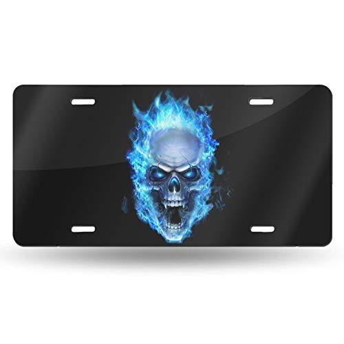 Placa de matrícula azul con diseño de calavera de fuego para coche, placa de metal para coche, placa de matrícula de aluminio, 6 x 30 cm