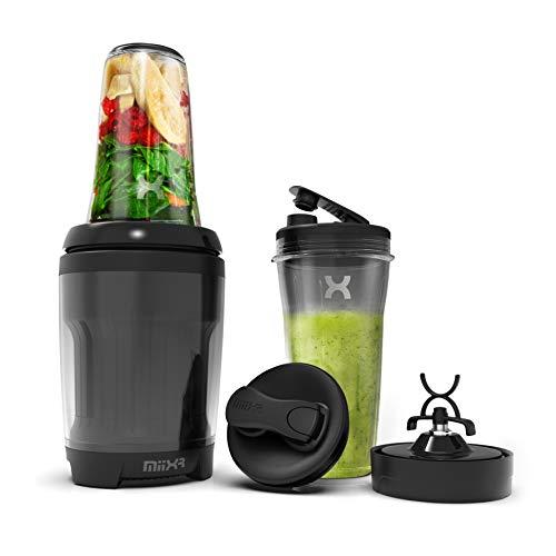 PROMiXX MiiXR X7 Smoothie Blender - mit Cool-flow Technology und 2 durchschusssicheren Tritan-Sportflaschen. Entwickeltes Doppelklingen-System zum Mischen von Smoothies, Säften und Nutri-Shakes.