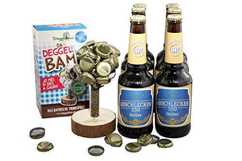 Deggelbam Arschlecken 350 Sepp Bumsinger Special Edition Deckelbaum Kronkorkenbaum Männergeschenk Bierbaum inkl. 6 Flaschen Helles Bier Arschlecken 350
