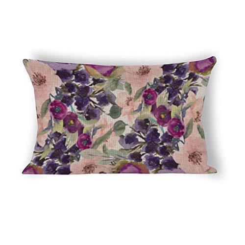 Sage Green Leaves Purple Blush Pink Flowers Rectangle Decorative Cotton Linen Accent Throw Pillow Case Cushion Cover Lumbar Pillowcase for Couch Sofa Bed 12x24inch