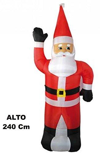 DUESSE BABBO NATALE GONFIABILE 240 cm con pompa d'aria Allestimento Addobbo