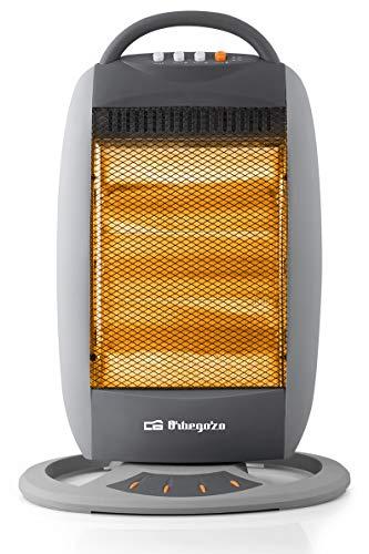 Orbegozo BP 5008 - Estufa halógena oscilante, 1200 W, 3 niveles de potencia, silencioso, oscilación 70, carcasa de tacto frío, sistema antivuelco