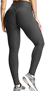 FITTOO Leggings Push Up Mujer Mallas Pantalones Deportivos Alta Cintura Elásticos Yoga Fitness Negro S