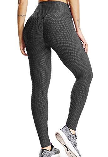 FITTOO Leggings Push Up Mujer Mallas Pantalones Deportivos Alta Cintura Elásticos Yoga Fitness Negro XL