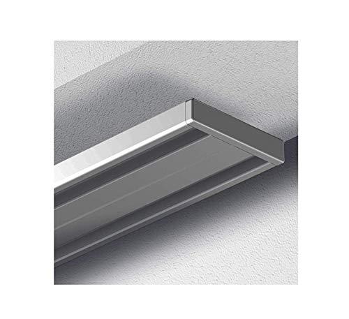 Garduna 450cm Gardinenschiene Vorhangschiene, Aluminium, Silber, alu-Silber eloxierte Oberfläche, 2-läufig oder 1-läufig (Wendeschiene)