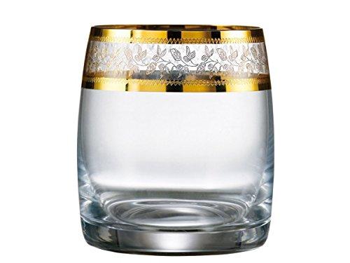 Bohemia Kristall Gläser, Model Ideal, 6 er Set, in Gold, NEU + OVP (Wasserglas 6 x 290 ml)